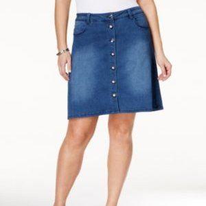 Nanette Plus Size Denim Button-Front Pencil Skirt